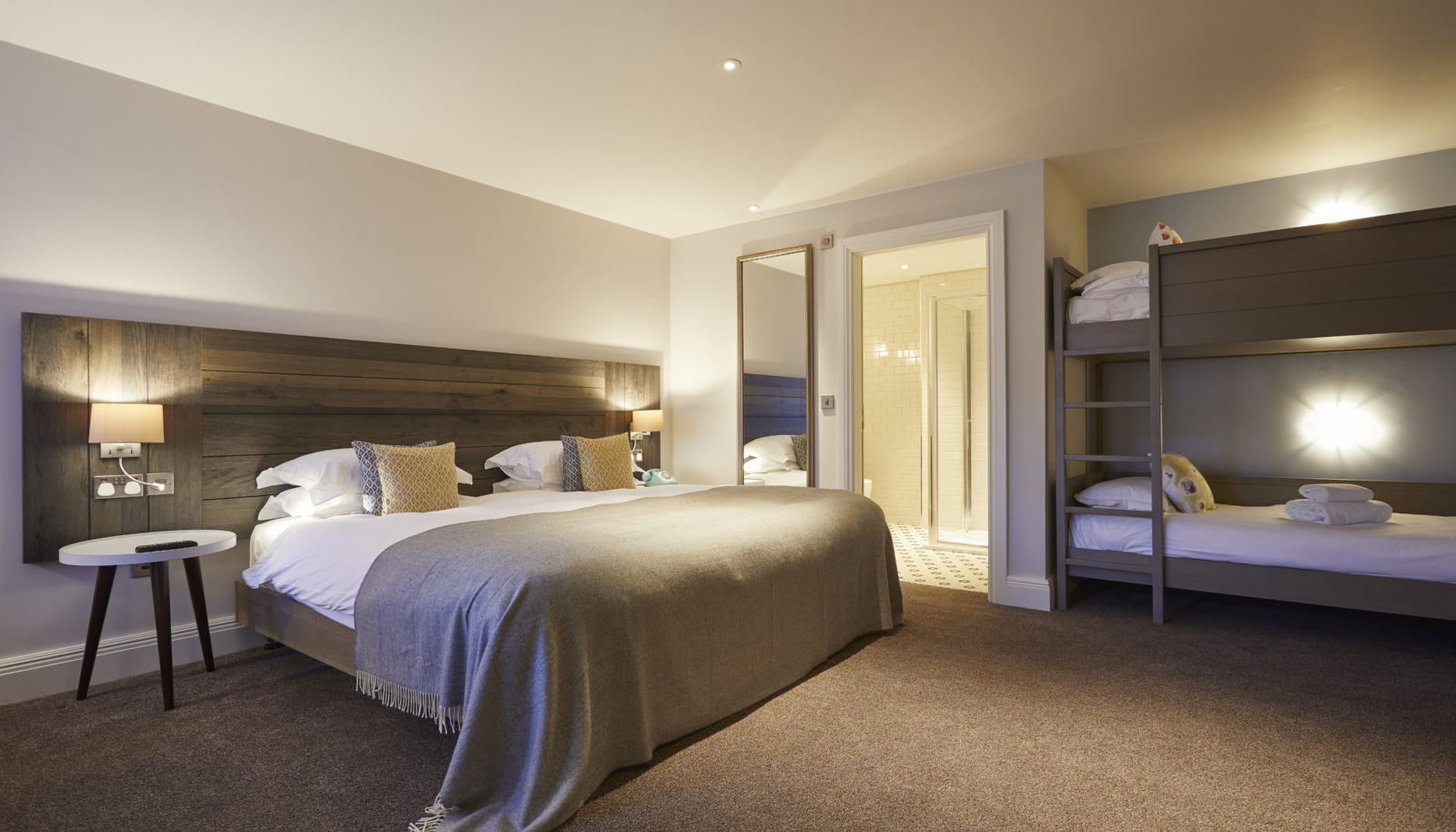 Family suite with bean bunk beds for children at the Swan at Streatley riverside hotel