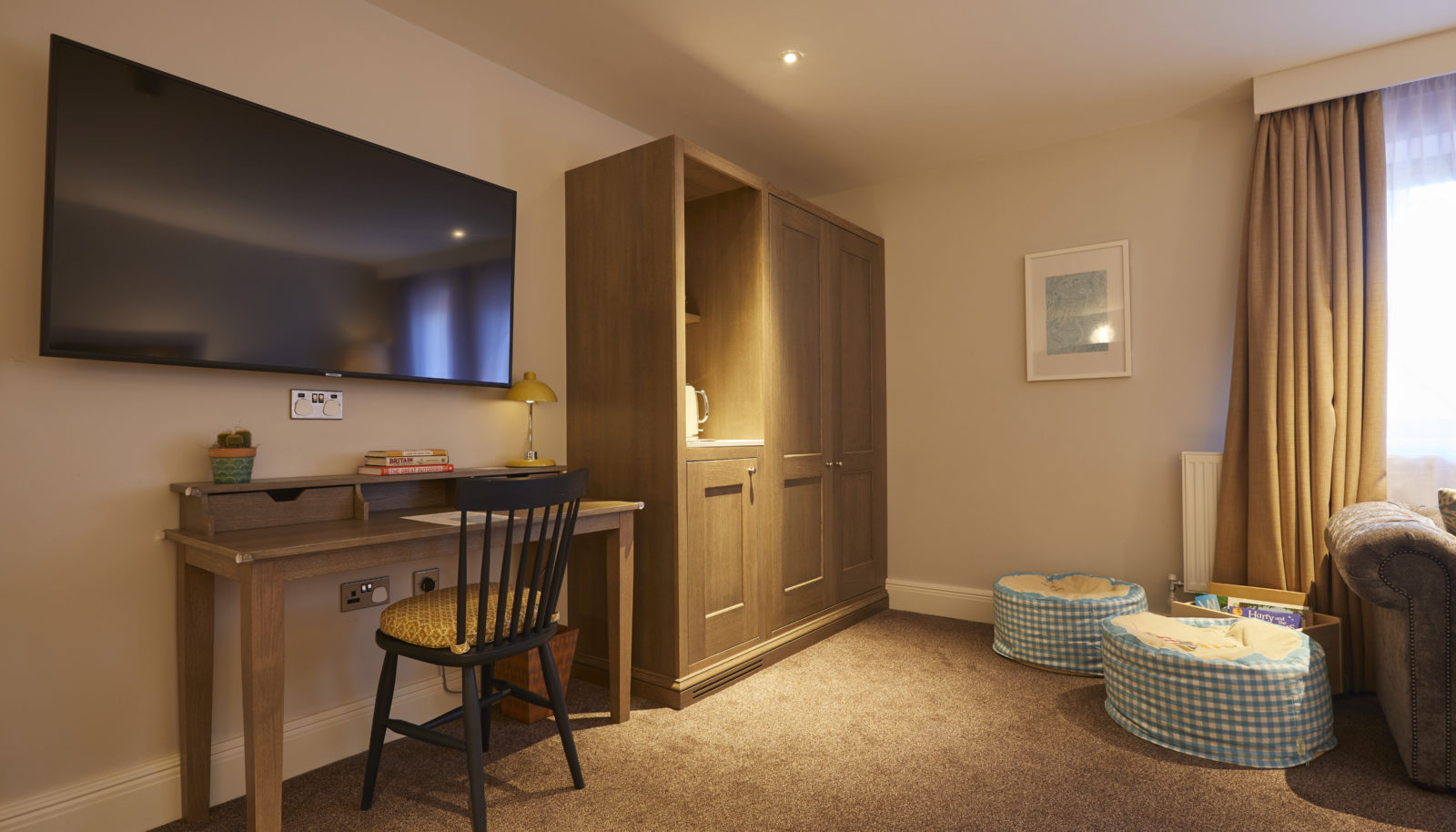Family suite with bean bags for children at the Swan at Streatley riverside hotel